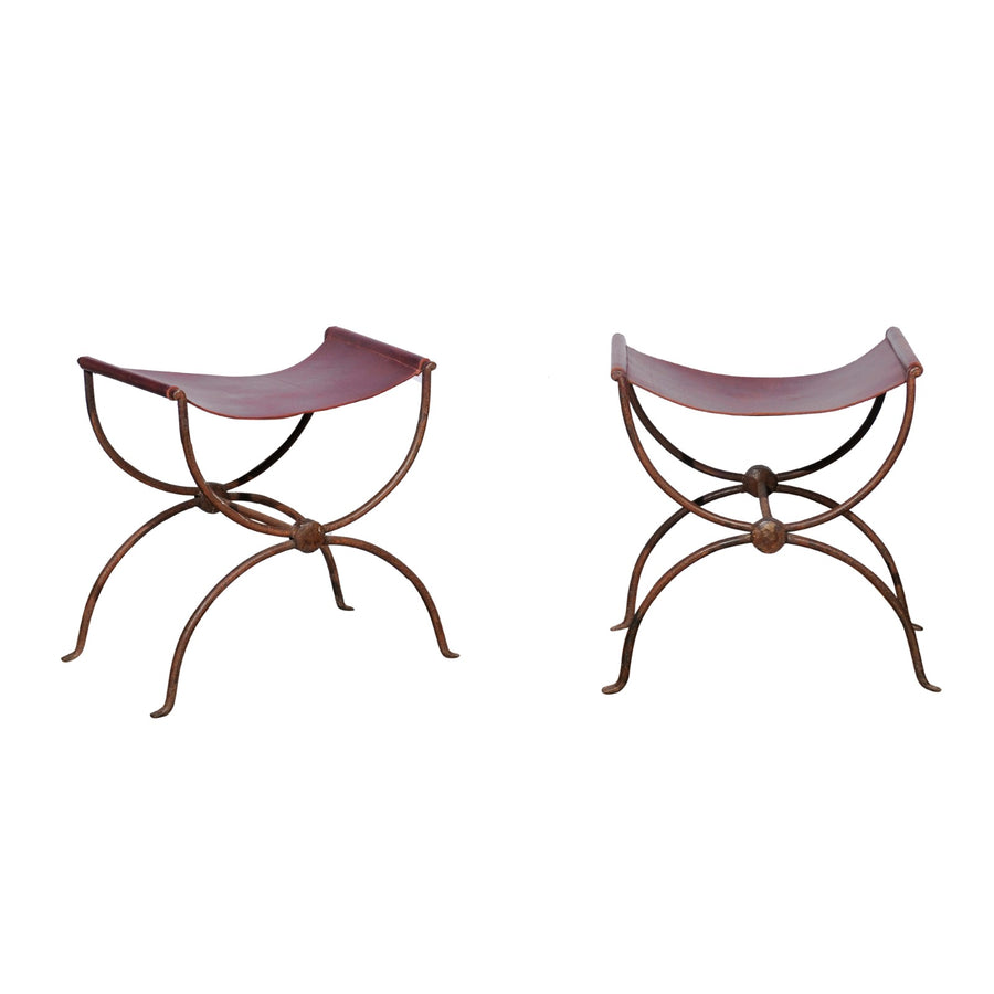 Pair of French Iron Stools with Leather Seats