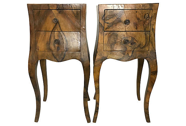 Pair of Small French Olivewood Side Tables