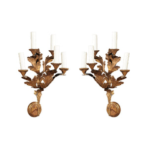 Pair of 18th C Gilded Oak Leaf Italian Sconces