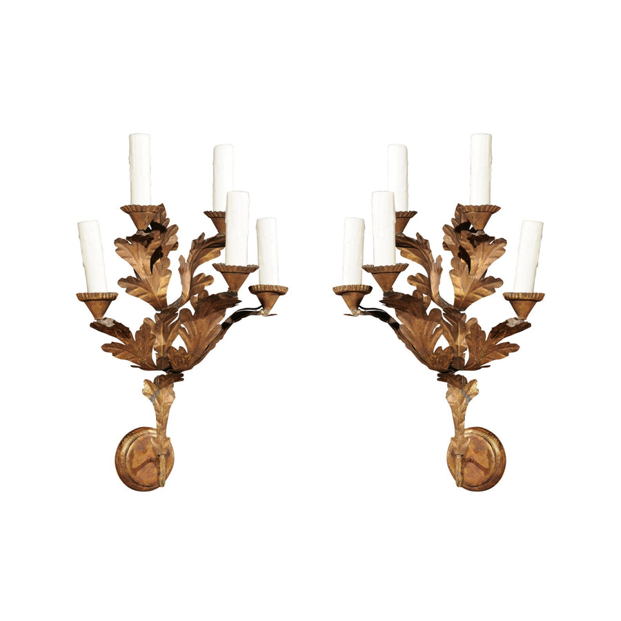 Pair of 18th C Gilded Oak Leaf Italian Sconces (2 pairs available)