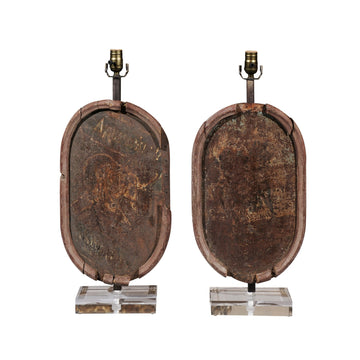 Pair of French Metal Plaques made into Lamps