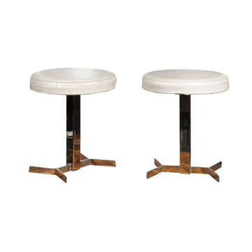 Pair of French Mid Century Chrome Stools