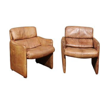 Pair of French Mid Century Leather Club Chairs