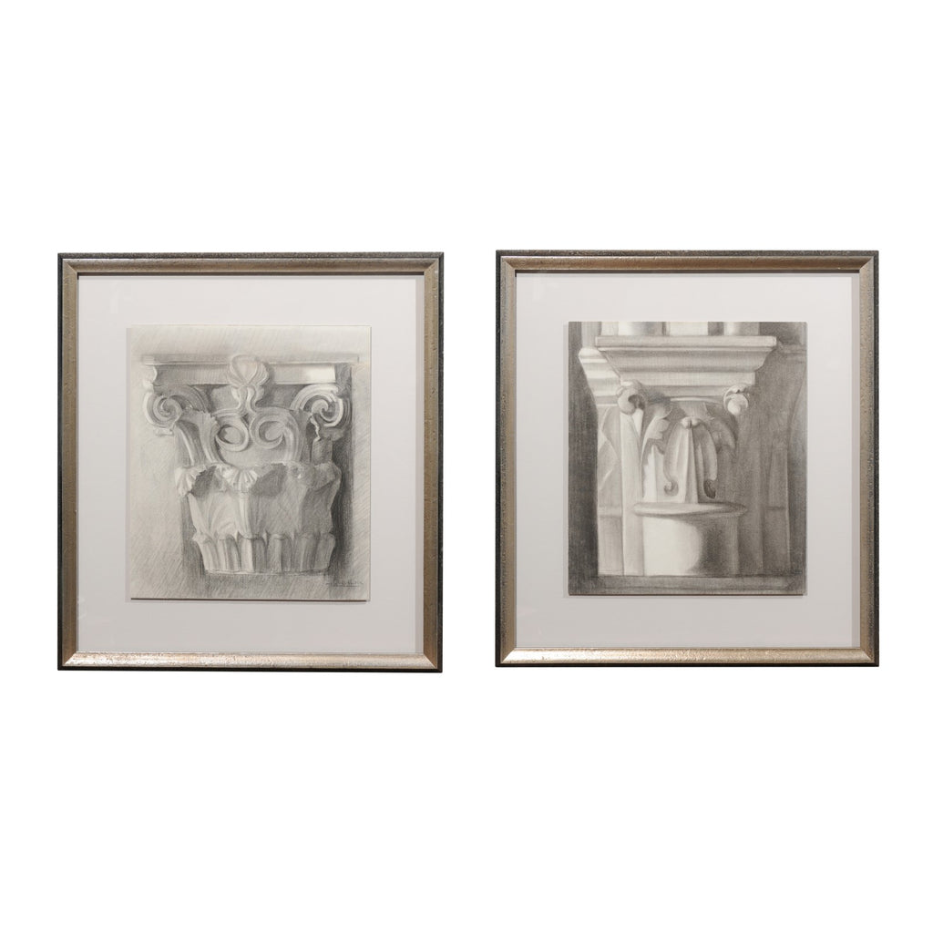 Pair of French Pencil Drawings from an Avignon Cathedral