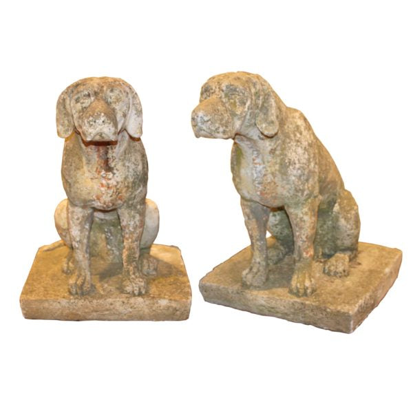 Pair of French Concrete Dogs from Early 1900's