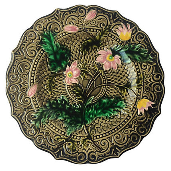 Pink Flower Majolica Plate (many available)