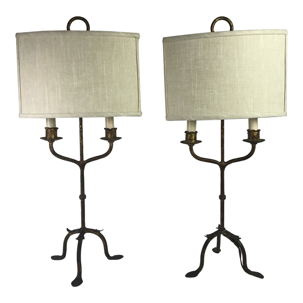 Spanish Gilt Candelabra Lamps, Pair