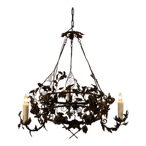 Belgian Wrought Iron Chandelier, Rewired