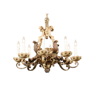 White Iron 6 Light Chandelier