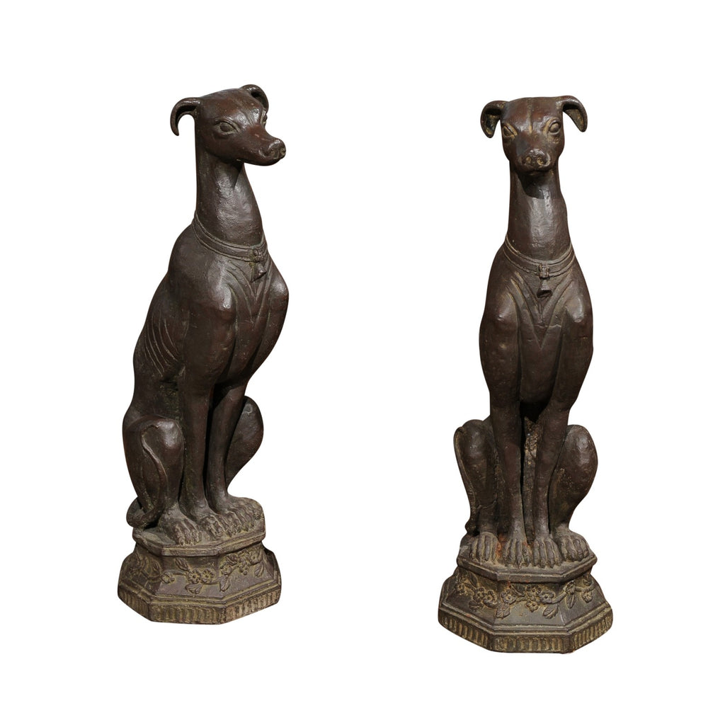 Pair of Belgian Metal Dogs on Stands