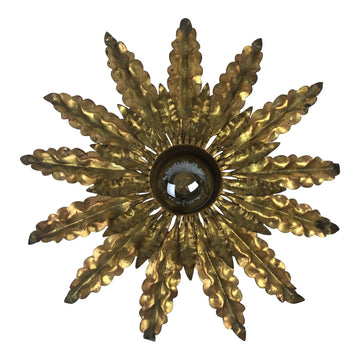 French Gilt Metal Hanging Starburst Pendant
