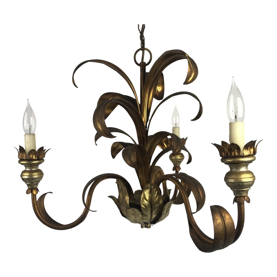 French Mid-Century Gilt Chandelier