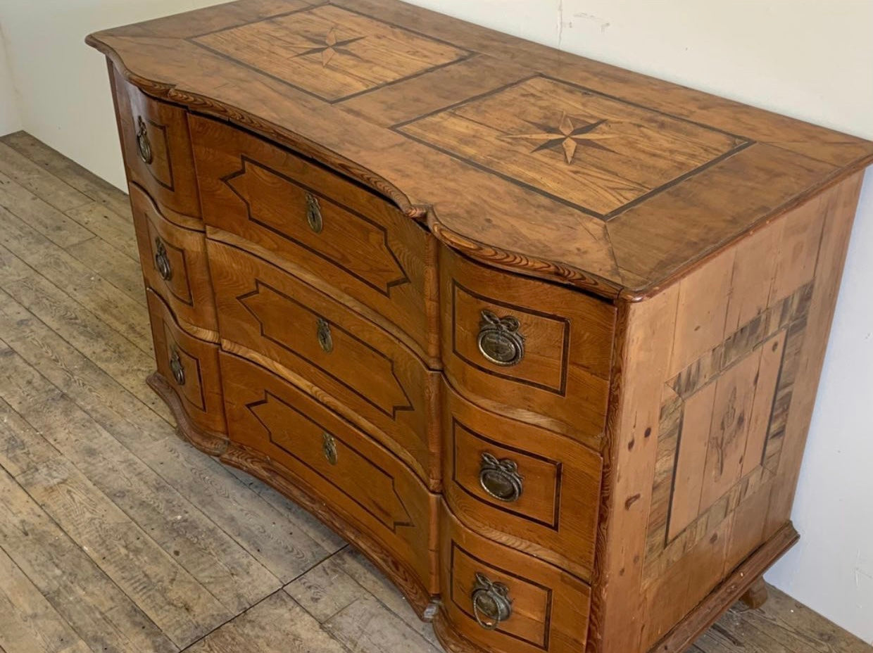 French Inlaid Serpentine Commode