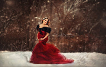 Load image into Gallery viewer, Burgundy Velvet Tulle Maternity Dress , Off Shoulder Long Sleeves - Design by C Maternity