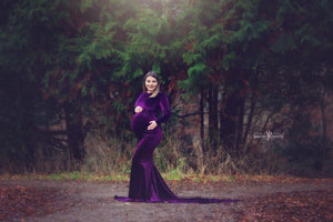 Melanie Velvet Modest Maternity Gown , Long on Shoulder Sleeves - Design by C Maternity