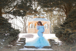 Belle Baby Blue Tulle Maternity Dress , Off Shoulder Long Sleeves - Design by C Maternity