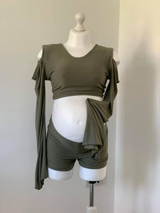 Olive Bohemian Maternity Shorts Set for Photo Shoot - Design by C Maternity