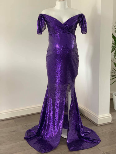 Emanuelle Purple Sequins Slim Fit Maternity Gown - Design by C Maternity