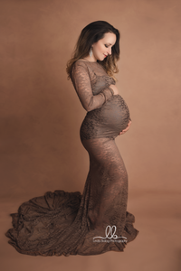 Vic Slim Fit Sheer Lace Maternity Gown , Boudoir Dress - Design by C Maternity