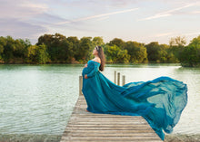Load image into Gallery viewer, Anastasia Baby Blue Chiffon Maternity Gown - Design by C Maternity