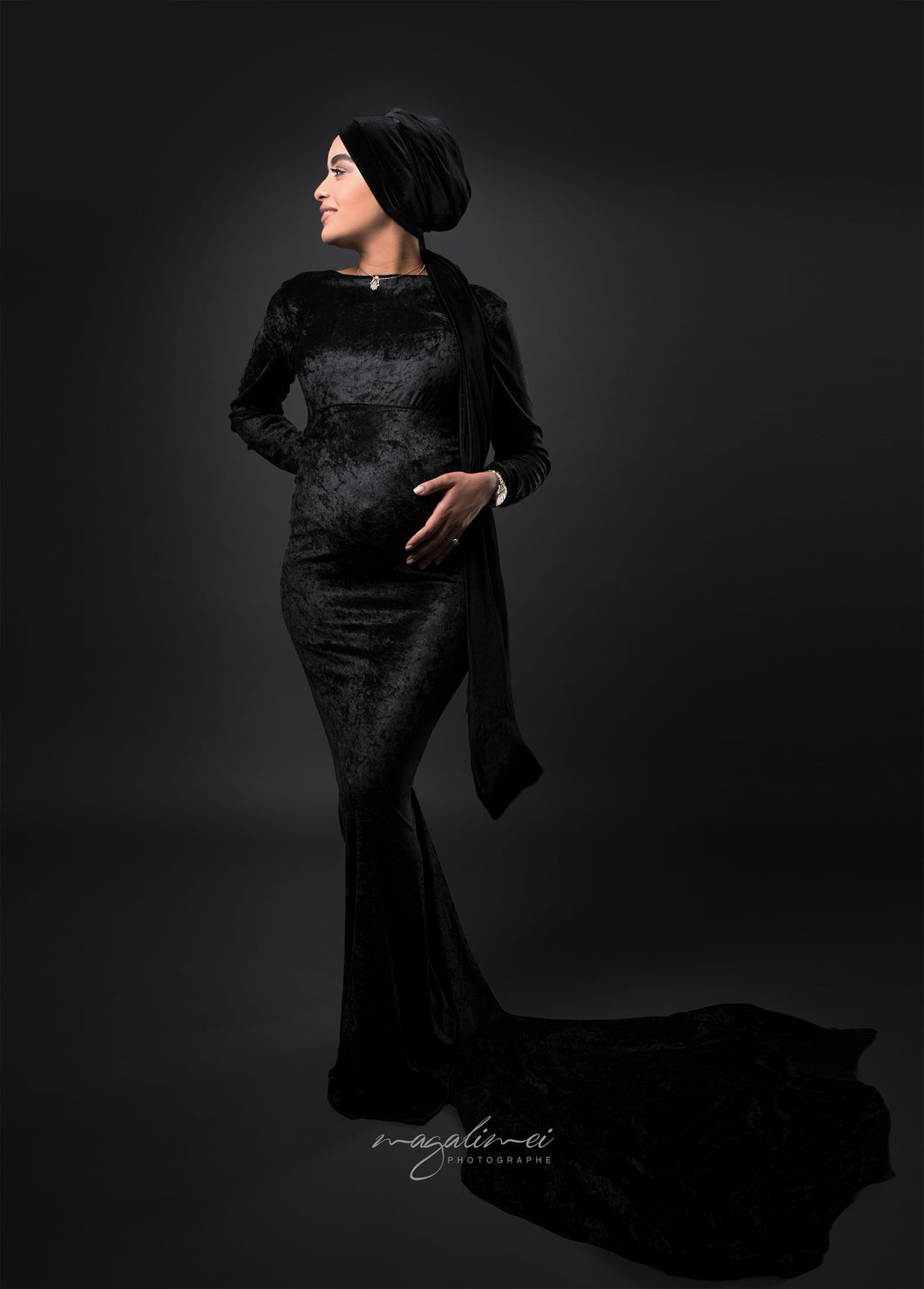 Melanie Velvet Maternity Dress
