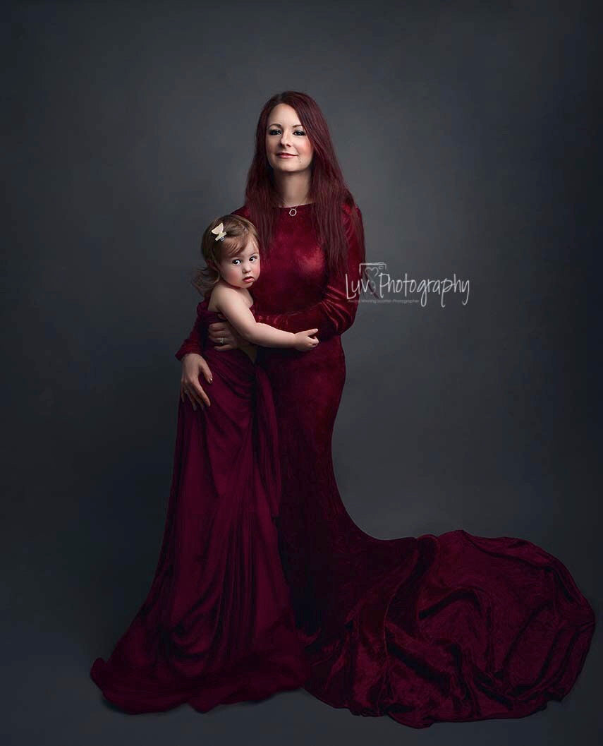 Melanie Red Velvet Modest Maternity Gown , Long on Shoulder Sleeves - Design by C Maternity