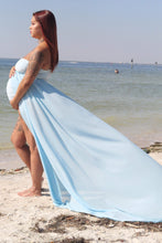 Load image into Gallery viewer, Tia baby Blue Maternity Bodysuit for Photo Shoot , Boudoir