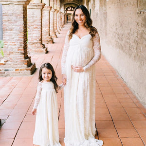 Gia  Boho Lace Maternity Dress | Off Shoulder Long Sleeves - Design by C Maternity