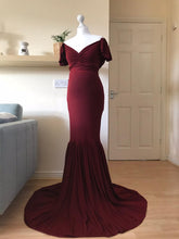 Load image into Gallery viewer, Zizzy Burgundy Off Shoulder Drop Sleeves Mermaid Style Maternity Dress - Design by C Maternity