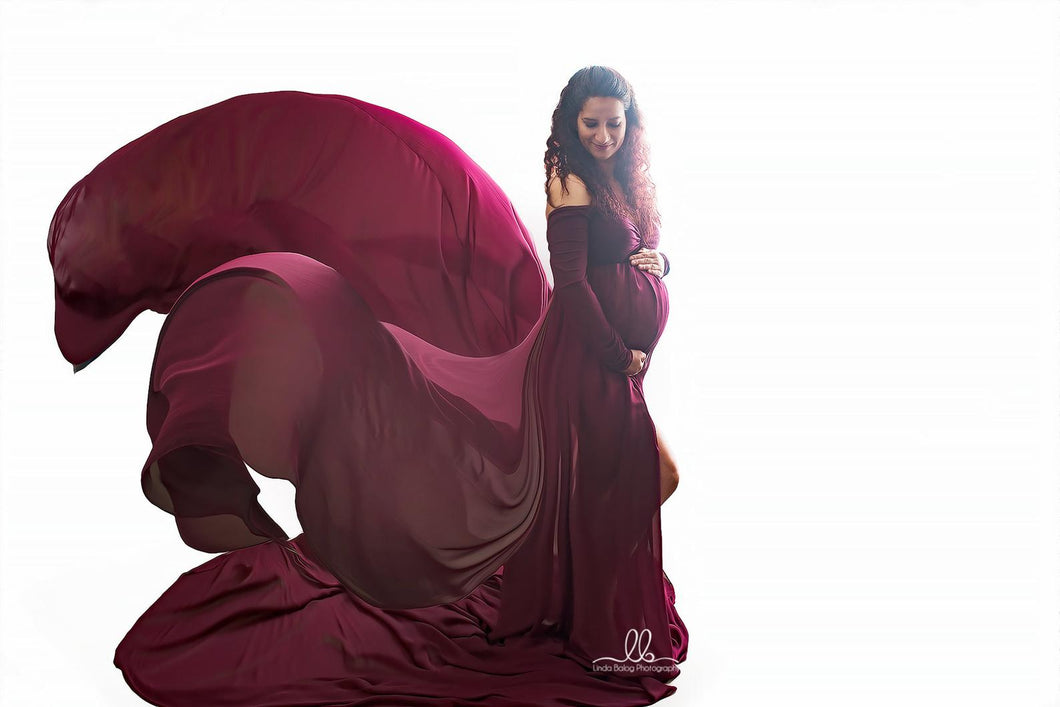 Burgundy Tossing Chiffon Split Maternity Gown - Design by C Maternity