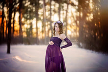 Load image into Gallery viewer, Chiffon Sheer Maternity Dress for Photo Shoot, long off Shoulder Sleeves - Design by C Maternity