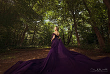 Load image into Gallery viewer, Purple Kirsty Fitted Mermaid Maternity Dress with Toss Train - Design by C Maternity