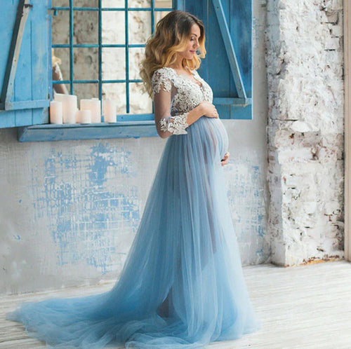 Penelope Baby Blue Lace and Tulle Maternity Dress - Design by C Maternity