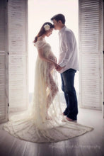 Load image into Gallery viewer, Lisa Split front Ivory Boho Lace Maternity Dress - Design by C Maternity