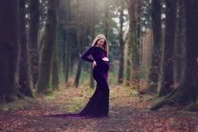 Load image into Gallery viewer, Melanie Velvet Modest Maternity Gown , Long on Shoulder Sleeves - Design by C Maternity