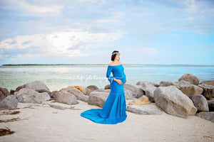 Belle Turquoise Long Sleeves Off Shoulder Slim Fit Jersey Maternity Dress - Design by C Maternity