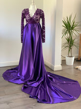 Load image into Gallery viewer, Joyce Purple Satin Lace Maternity Dress - Design by C Maternity