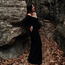 Load image into Gallery viewer, Celeste Off Shoulder Long Sleeves Maternity Dress - Design by C Maternity