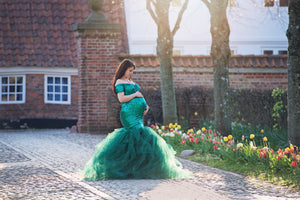 Pam Bottle Green Sequins Tulle Slim Fit Maternity Dress