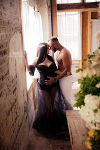 Black  Maternity Bodysuit for Photo Shoot with Tulle skirt, Boudoir - Design by C Maternity