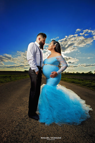 Belle Turquoise Tulle Maternity Dress , Off Shoulder Long Sleeves