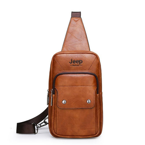 JEEP BULUO Big Brand Man's Chest Bag Fashion Men Leather Crossbody Sling Bags For Young Man Teenagers Students New Causual Cool