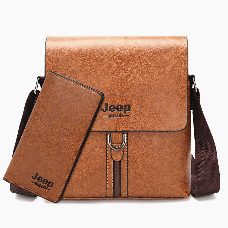 JEEP BULUO Famous Brand Men Shoulder Bag High Quality Pu Leather Cross body Messenger Bag For Man iPad Casual Business Tote Bags