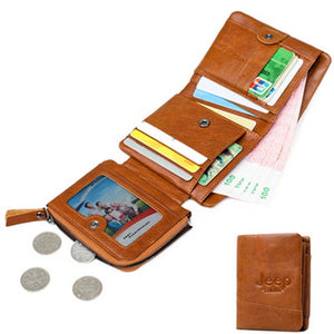 JEEP BULUO Women Men Wallets Natural Genuine Cow Leather Short Bifold Purse RFID Blocking Tri-Folds Card Wallet For Man Ladies