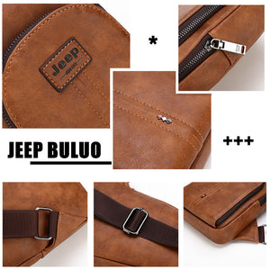 JEEP BULUO Brand Man's Sling Bags High Quality Men Vintage Split Leather Satchel Shoulder Chest Pack Bag For College Teenagers