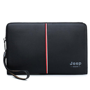 JEEP BULUO Luxury Brand Men's Handbag Day Clutches Bags For Phone High Quality Spilt Leather Wallet Hand bag Large Capacity Male