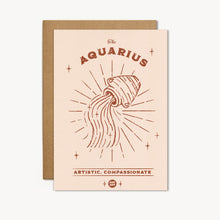 Load image into Gallery viewer, Aquarius Zodiac Sign Birthday Card