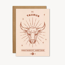 Load image into Gallery viewer, Taurus Zodiac Sign Birthday Card
