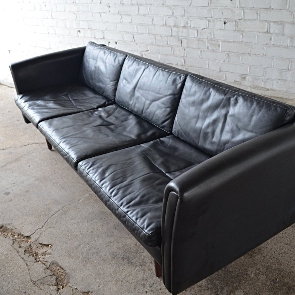 Danish Midcentury Black Leather Three / Four Seat Sofa