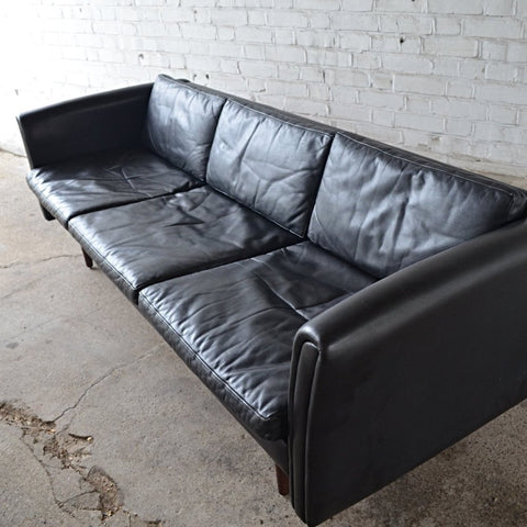 Danish Black Leather Sofa